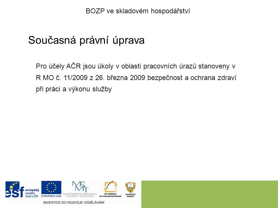 Současná právní úprava Pro účely AČR jsou úkoly v oblasti pracovních úrazů stanoveny v R MO č.