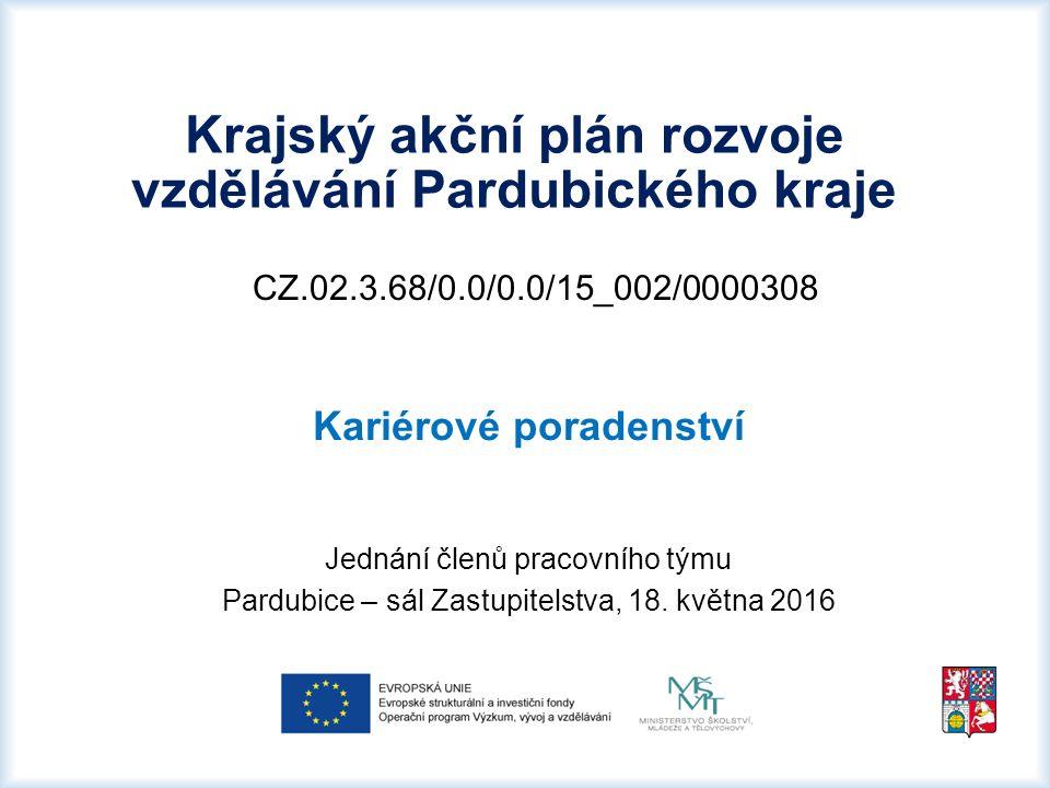 CZ.02.3.68/0.0/0.0/15_002/0000308 Kariérové poradenství Jednání členů pracovního týmu Pardubice – sál Zastupitelstva, 18.