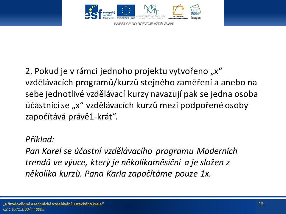 """""""Přírodovědné a technické vzdělávání Ústeckého kraje CZ.1.07/1.1.00/44.0005 13 2."""