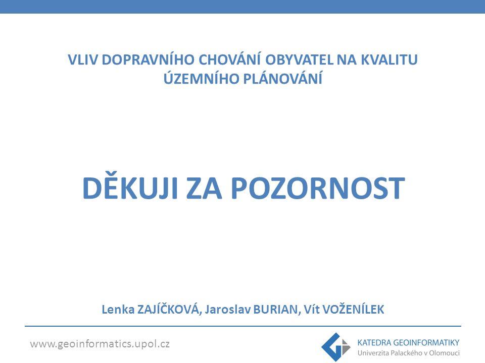 www.geoinformatics.upol.cz VLIV DOPRAVNÍHO CHOVÁNÍ OBYVATEL NA KVALITU ÚZEMNÍHO PLÁNOVÁNÍ DĚKUJI ZA POZORNOST Lenka ZAJÍČKOVÁ, Jaroslav BURIAN, Vít VOŽENÍLEK