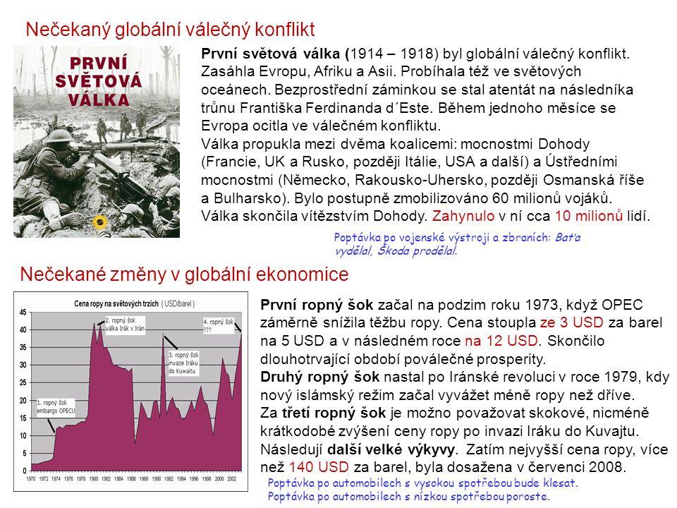 Nečekaný globální válečný konflikt Nečekané změny v globální ekonomice První světová válka (1914 – 1918) byl globální válečný konflikt.