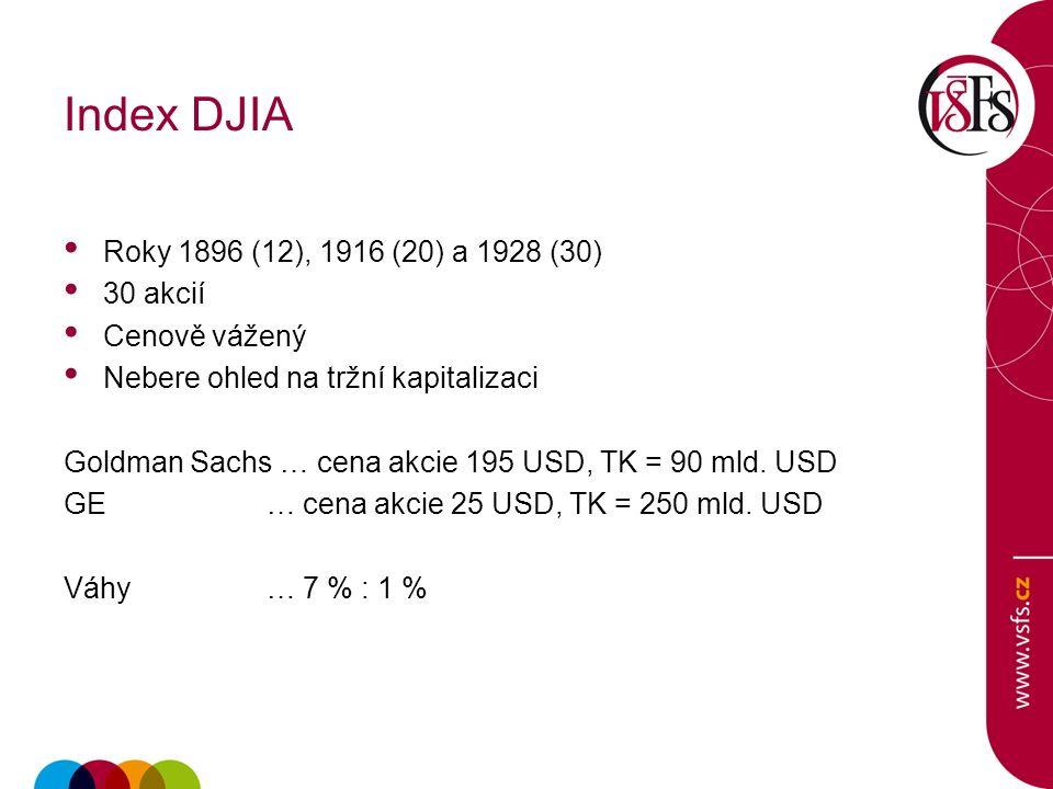 Index DJIA Roky 1896 (12), 1916 (20) a 1928 (30) 30 akcií Cenově vážený Nebere ohled na tržní kapitalizaci Goldman Sachs … cena akcie 195 USD, TK = 90 mld.