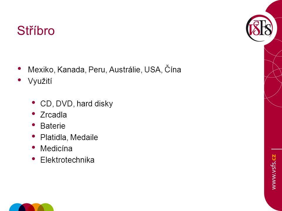 Stříbro Mexiko, Kanada, Peru, Austrálie, USA, Čína Využití CD, DVD, hard disky Zrcadla Baterie Platidla, Medaile Medicína Elektrotechnika