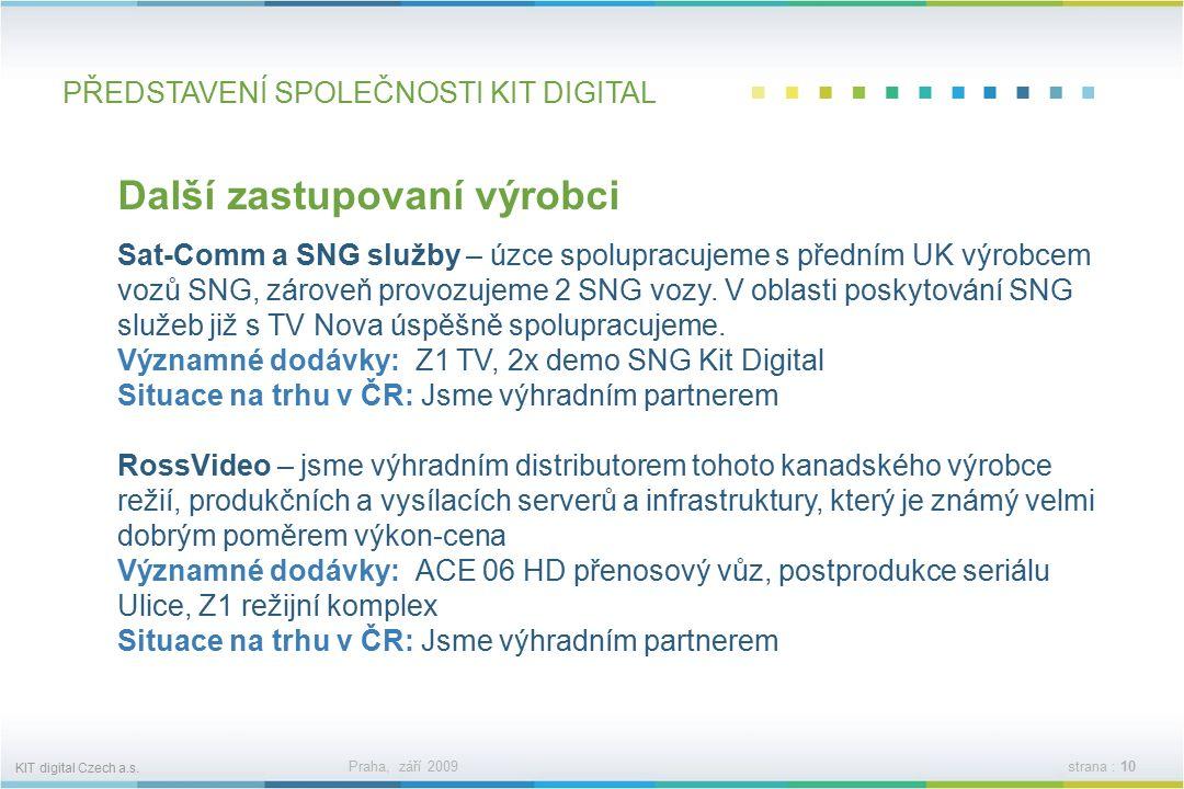 KIT digital Czech a.s. Praha, září 2009strana : 9 PŘEDSTAVENÍ SPOLEČNOSTI KIT DIGITAL SONY jsme dodavateli jednoho z největších výrobců technologií pr