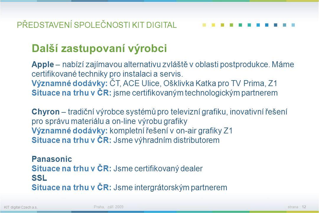 KIT digital Czech a.s. Praha, září 2009strana : 11 PŘEDSTAVENÍ SPOLEČNOSTI KIT DIGITAL Další zastupovaní výrobci Dalet – spolupracujeme s francouzským