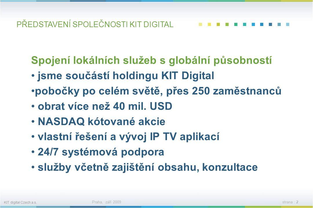 KIT digital Czech a.s. Praha, září 2009strana : 1 KIT digital Czech a.s.