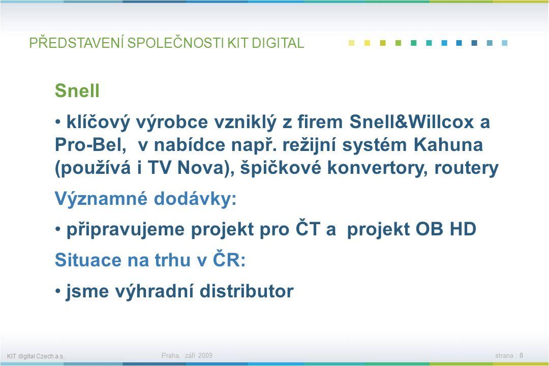 KIT digital Czech a.s. Praha, září 2009strana : 7 PŘEDSTAVENÍ SPOLEČNOSTI KIT DIGITAL Avid Digidesign nejvýznamnější výrobce v oblasti postprodukce, s