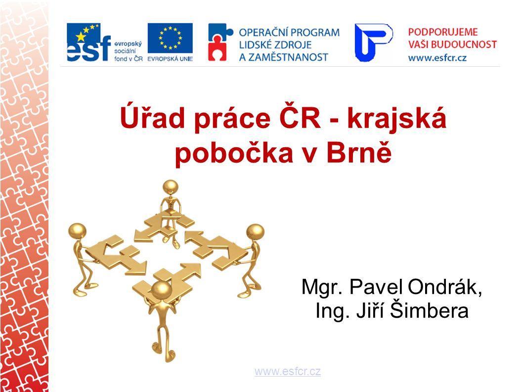 logo Úřad práce ČR - krajská pobočka v Brně www.esfcr.cz Mgr. Pavel Ondrák, Ing. Jiří Šimbera
