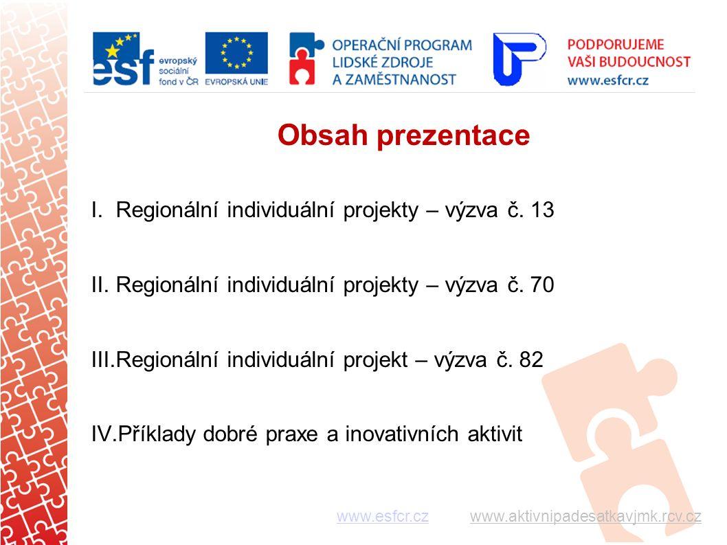 Obsah prezentace I.Regionální individuální projekty – výzva č.