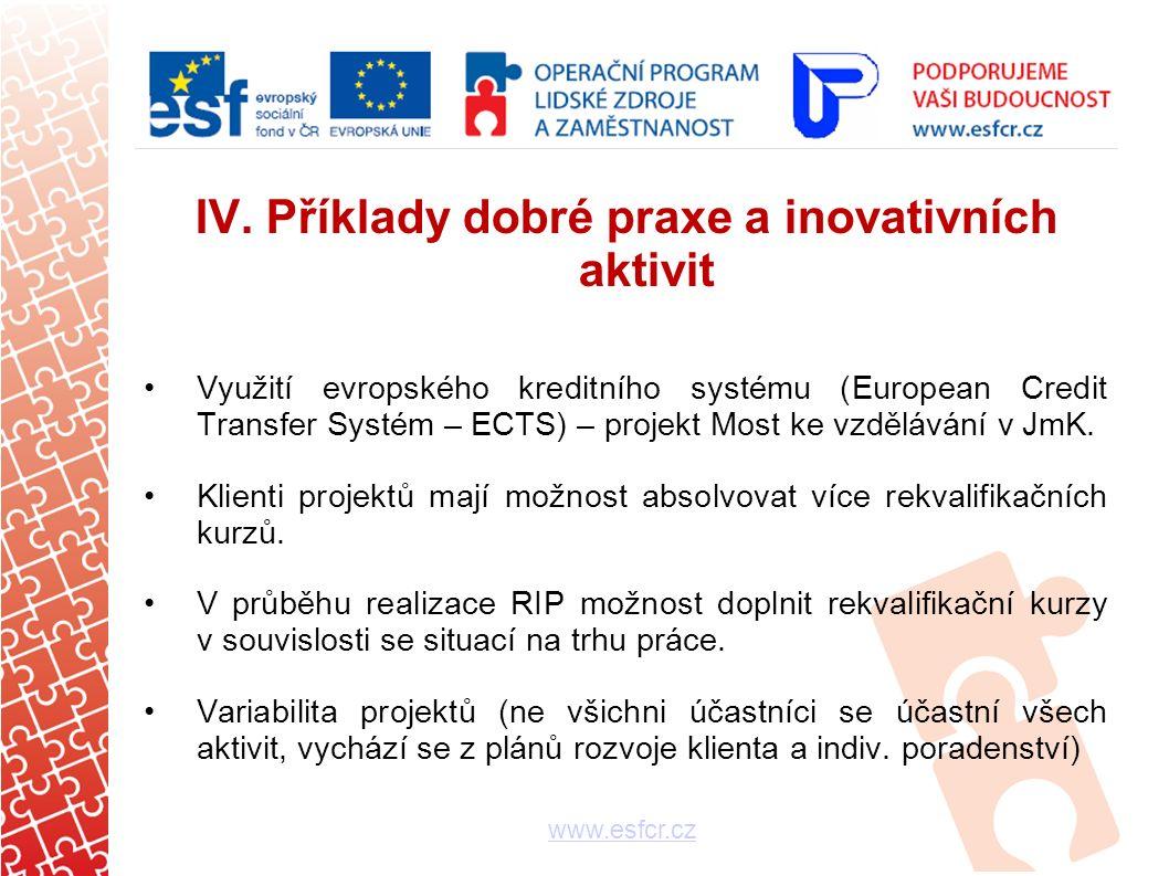 IV. Příklady dobré praxe a inovativních aktivit Využití evropského kreditního systému (European Credit Transfer Systém – ECTS) – projekt Most ke vzděl