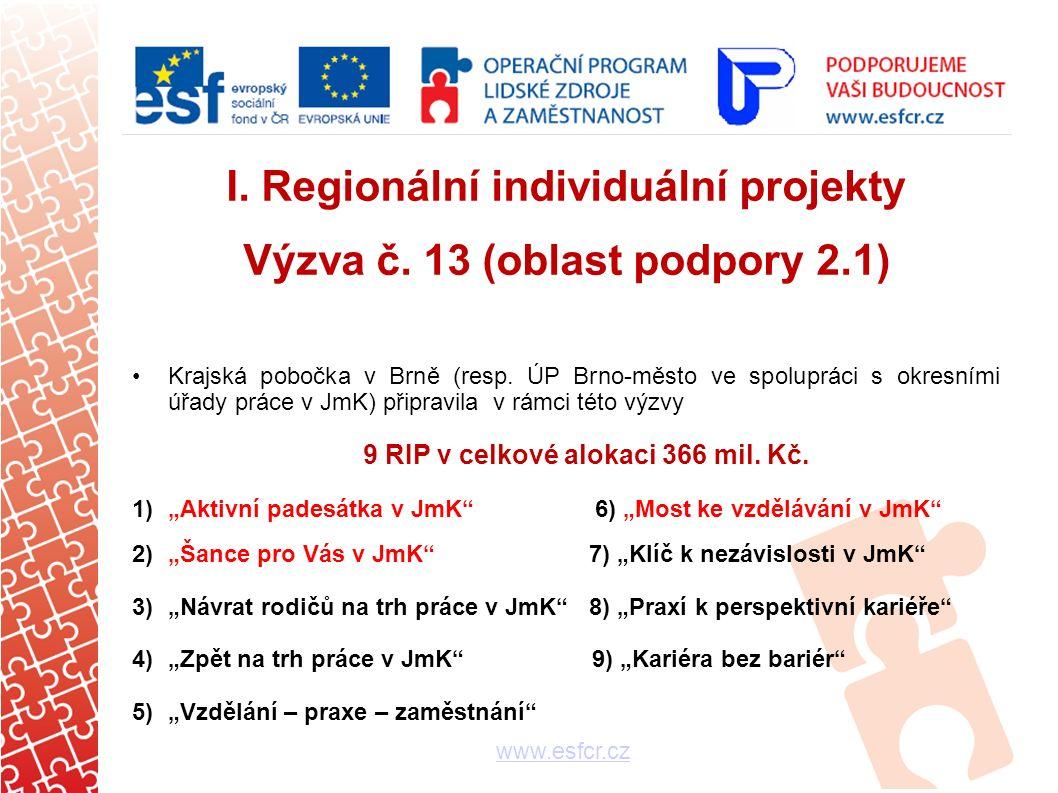 I. Regionální individuální projekty Výzva č. 13 (oblast podpory 2.1) Krajská pobočka v Brně (resp.