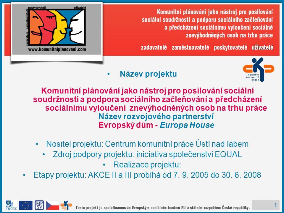 1 Název projektu Komunitní plánování jako nástroj pro posilování sociální soudržnosti a podpora sociálního začleňování a předcházení sociálnímu vyloučení znevýhodněných osob na trhu práce Název rozvojového partnerství Evropský dům - Europa House Nositel projektu: Centrum komunitní práce Ústí nad labem Zdroj podpory projektu: iniciativa společenství EQUAL Realizace projektu: Etapy projektu: AKCE II a III probíhá od 7.