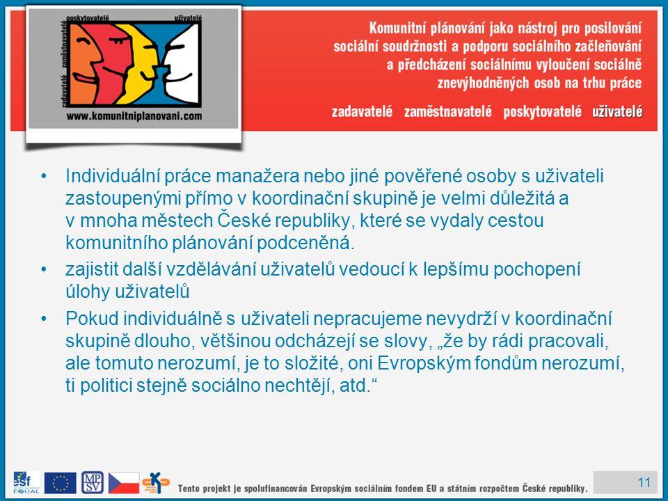 11 Individuální práce manažera nebo jiné pověřené osoby s uživateli zastoupenými přímo v koordinační skupině je velmi důležitá a v mnoha městech České republiky, které se vydaly cestou komunitního plánování podceněná.