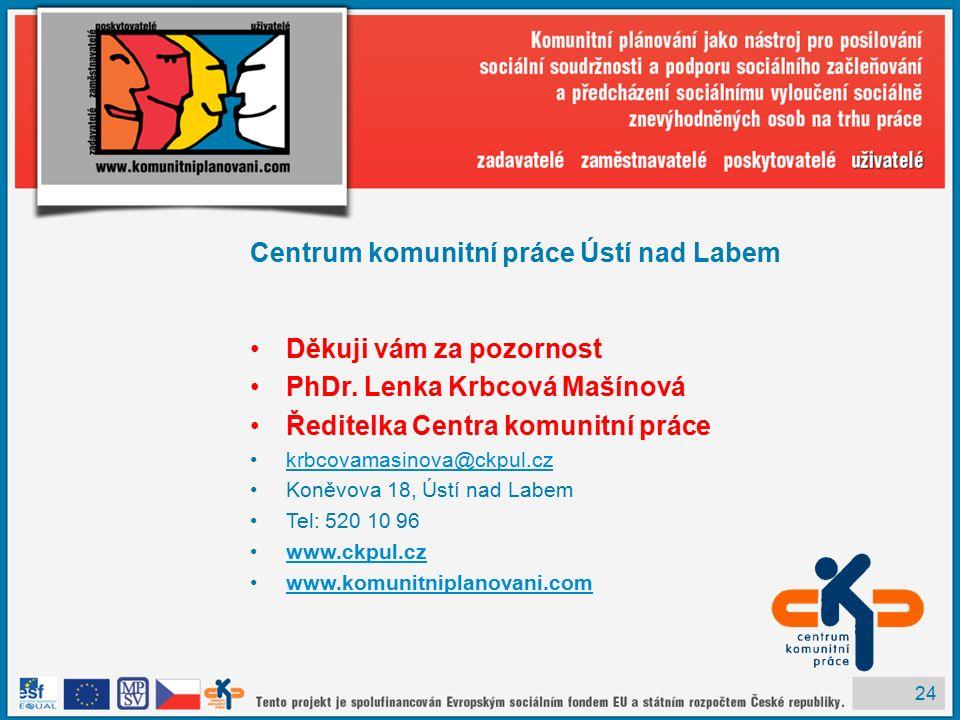 24 Centrum komunitní práce Ústí nad Labem Děkuji vám za pozornost PhDr.