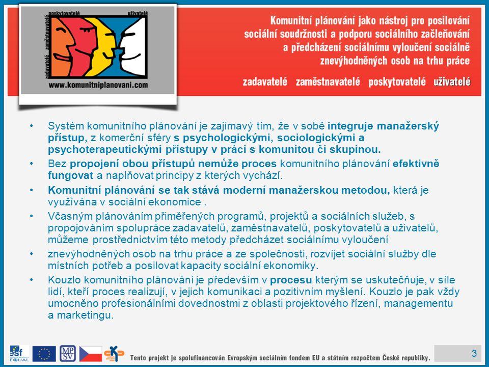 3 Systém komunitního plánování je zajímavý tím, že v sobě integruje manažerský přístup, z komerční sféry s psychologickými, sociologickými a psychoterapeutickými přístupy v práci s komunitou či skupinou.