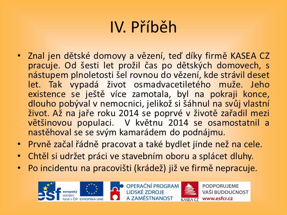 IV.Příběh Znal jen dětské domovy a vězení, teď díky firmě KASEA CZ pracuje.