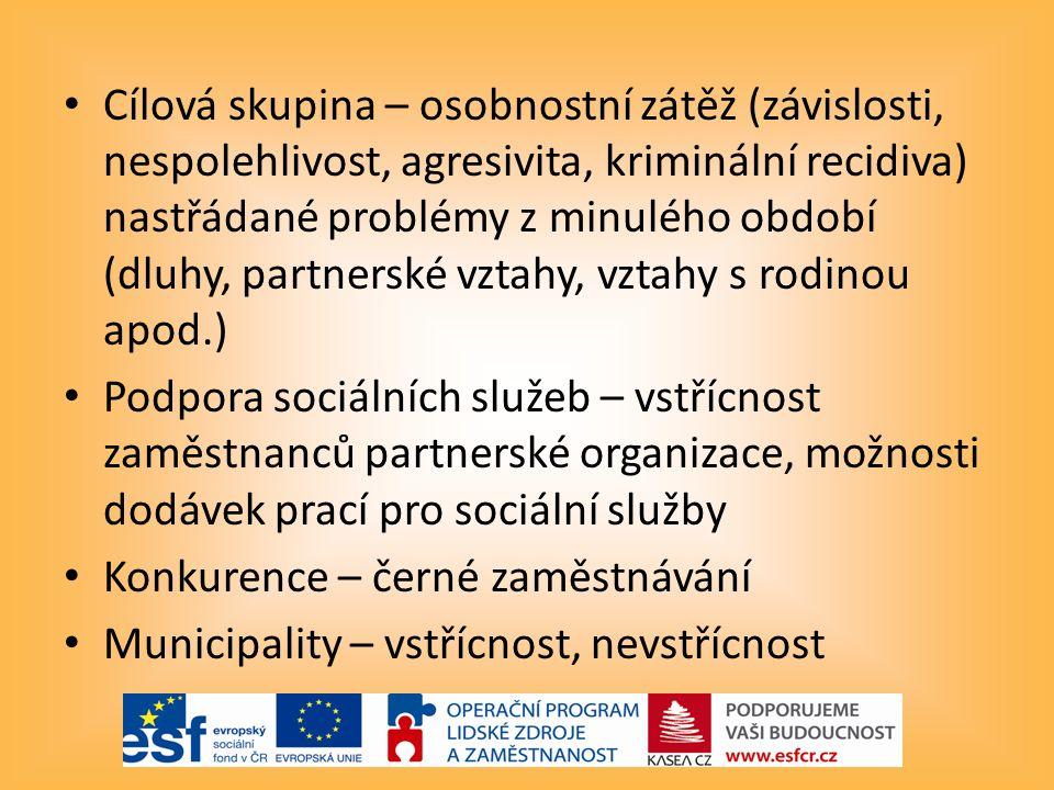 Cílová skupina – osobnostní zátěž (závislosti, nespolehlivost, agresivita, kriminální recidiva) nastřádané problémy z minulého období (dluhy, partnerské vztahy, vztahy s rodinou apod.) Podpora sociálních služeb – vstřícnost zaměstnanců partnerské organizace, možnosti dodávek prací pro sociální služby Konkurence – černé zaměstnávání Municipality – vstřícnost, nevstřícnost