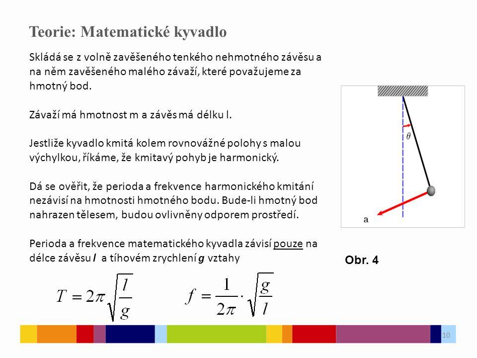 10 Teorie: Matematické kyvadlo Skládá se z volně zavěšeného tenkého nehmotného závěsu a na něm zavěšeného malého závaží, které považujeme za hmotný bod.