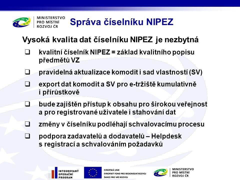 Vysoká kvalita dat číselníku NIPEZ je nezbytná  kvalitní číselník NIPEZ = základ kvalitního popisu předmětů VZ  pravidelná aktualizace komodit i sad vlastností (SV)  export dat komodit a SV pro e-tržiště kumulativně i přírůstkově  bude zajištěn přístup k obsahu pro širokou veřejnost a pro registrované uživatele i stahování dat  změny v číselníku podléhají schvalovacímu procesu  podpora zadavatelů a dodavatelů – Helpdesk s registrací a schvalováním požadavků Správa číselníku NIPEZ