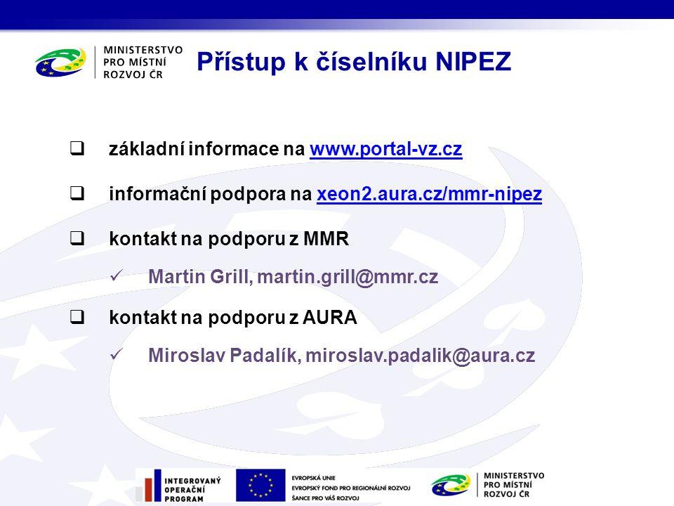 základní informace na www.portal-vz.czwww.portal-vz.cz  informační podpora na xeon2.aura.cz/mmr-nipezxeon2.aura.cz/mmr-nipez  kontakt na podporu z MMR Martin Grill, martin.grill@mmr.cz  kontakt na podporu z AURA Miroslav Padalík, miroslav.padalik@aura.cz Přístup k číselníku NIPEZ
