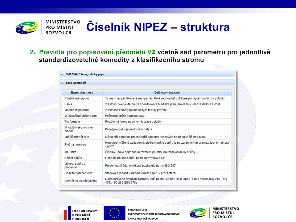 Číselník NIPEZ bude obsahovat:  sady parametrů pro komodity, které jsou standardizovatelné, tj.