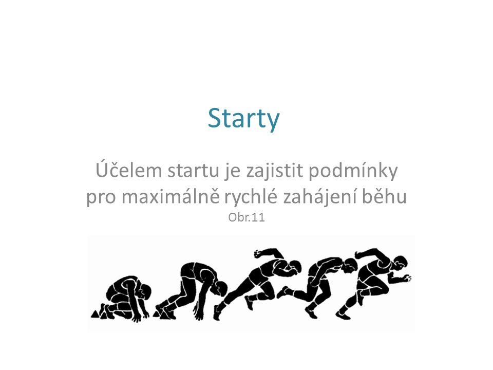 Starty Účelem startu je zajistit podmínky pro maximálně rychlé zahájení běhu Obr.11