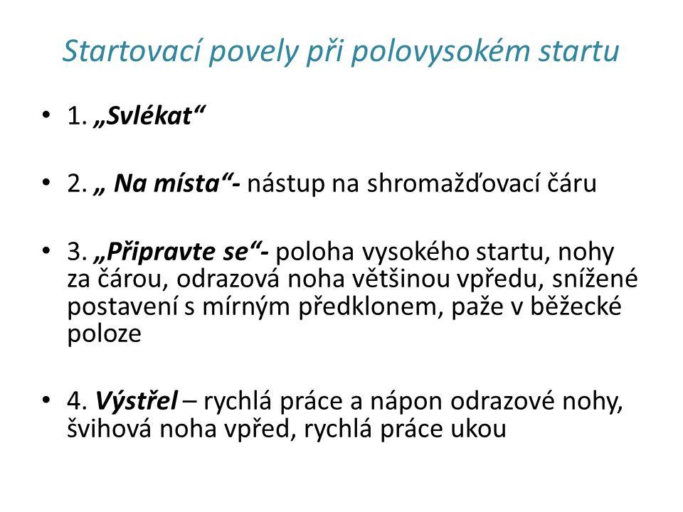 """Startovací povely při polovysokém startu 1. """"Svlékat 2."""