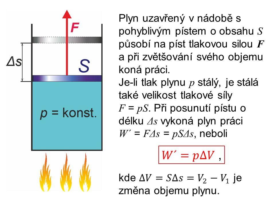Plyn uzavřený v nádobě s pohyblivým pístem o obsahu S působí na píst tlakovou silou F a při zvětšování svého objemu koná práci.