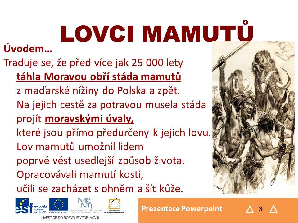 Prezentace Powerpoint 14 LOVCI MAMUTŮ Pravěké umění LOVCI MAMUTŮ  Vyráběli keramiku  Vyráběli masky, ozdoby  Tkali textilie z kopřiv  Modelovali figurky z hlíny – nejčastěji zvířata  Věstonická Venuše
