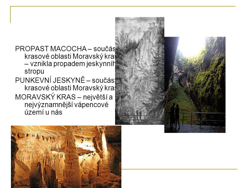 PROPAST MACOCHA – součást krasové oblasti Moravský kras – vznikla propadem jeskynního stropu PUNKEVNÍ JESKYNĚ – součást krasové oblasti Moravský kras