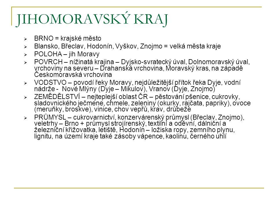 JIHOMORAVSKÝ KRAJ  BRNO = krajské město  Blansko, Břeclav, Hodonín, Vyškov, Znojmo = velká města kraje  POLOHA – jih Moravy  POVRCH – nížinatá kra