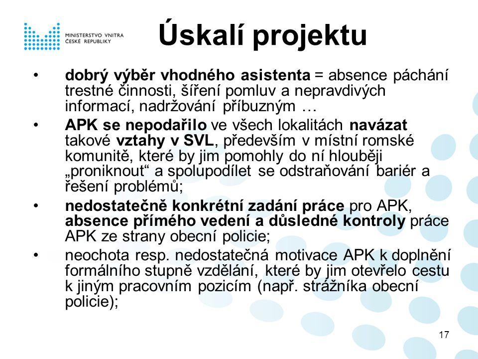 """17 Úskalí projektu dobrý výběr vhodného asistenta = absence páchání trestné činnosti, šíření pomluv a nepravdivých informací, nadržování příbuzným … APK se nepodařilo ve všech lokalitách navázat takové vztahy v SVL, především v místní romské komunitě, které by jim pomohly do ní hlouběji """"proniknout a spolupodílet se odstraňování bariér a řešení problémů; nedostatečně konkrétní zadání práce pro APK, absence přímého vedení a důsledné kontroly práce APK ze strany obecní policie; neochota resp."""