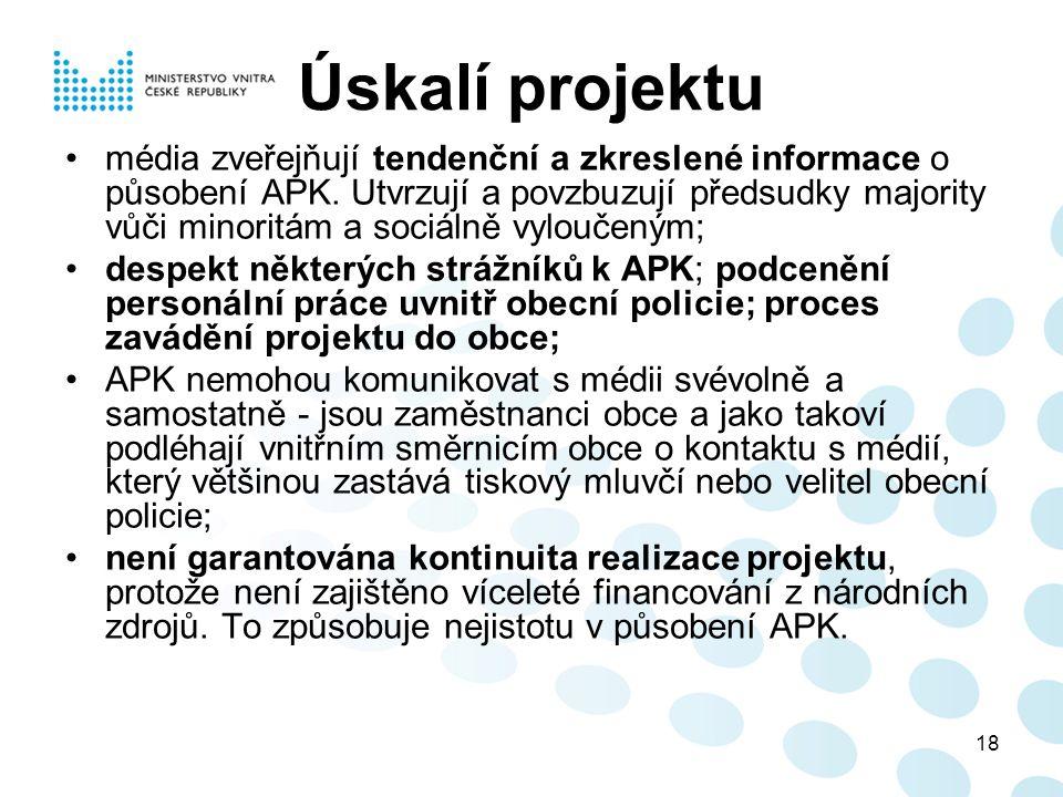 18 Úskalí projektu média zveřejňují tendenční a zkreslené informace o působení APK. Utvrzují a povzbuzují předsudky majority vůči minoritám a sociálně