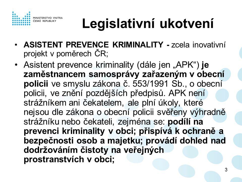 """3 Legislativní ukotvení ASISTENT PREVENCE KRIMINALITY - zcela inovativní projekt v poměrech ČR; Asistent prevence kriminality (dále jen """"APK"""") je zamě"""