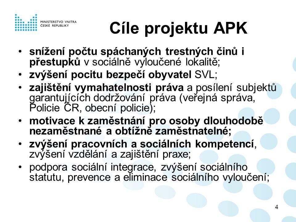 4 Cíle projektu APK snížení počtu spáchaných trestných činů i přestupků v sociálně vyloučené lokalitě; zvýšení pocitu bezpečí obyvatel SVL; zajištění vymahatelnosti práva a posílení subjektů garantujících dodržování práva (veřejná správa, Policie ČR, obecní policie); motivace k zaměstnání pro osoby dlouhodobě nezaměstnané a obtížně zaměstnatelné; zvýšení pracovních a sociálních kompetencí, zvýšení vzdělání a zajištění praxe; podpora sociální integrace, zvýšení sociálního statutu, prevence a eliminace sociálního vyloučení;