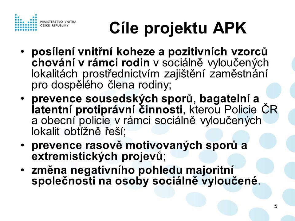 5 Cíle projektu APK posílení vnitřní koheze a pozitivních vzorců chování v rámci rodin v sociálně vyloučených lokalitách prostřednictvím zajištění zaměstnání pro dospělého člena rodiny; prevence sousedských sporů, bagatelní a latentní protiprávní činnosti, kterou Policie ČR a obecní policie v rámci sociálně vyloučených lokalit obtížně řeší; prevence rasově motivovaných sporů a extremistických projevů; změna negativního pohledu majoritní společnosti na osoby sociálně vyloučené.