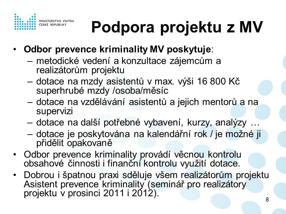 8 Podpora projektu z MV Odbor prevence kriminality MV poskytuje: –metodické vedení a konzultace zájemcům a realizátorům projektu –dotace na mzdy asistentů v max.