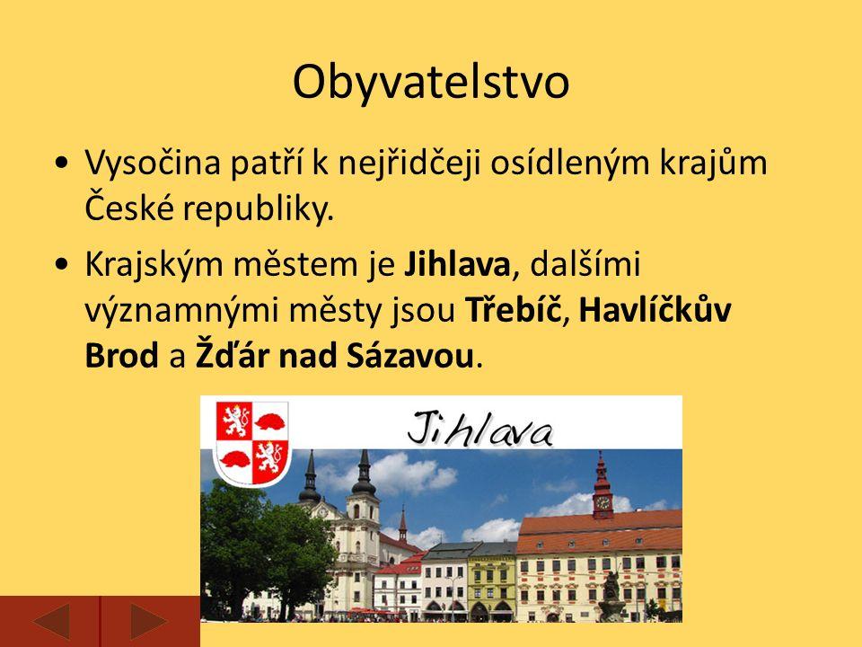 Vysočina patří k nejřidčeji osídleným krajům České republiky.