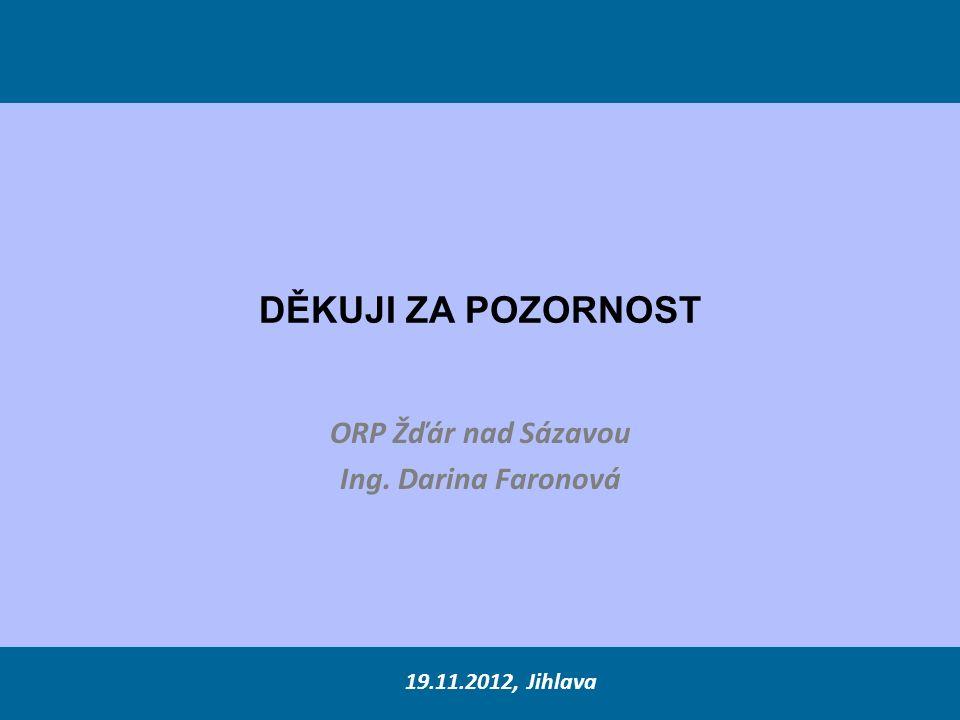DĚKUJI ZA POZORNOST ORP Žďár nad Sázavou Ing. Darina Faronová 19.11.2012, Jihlava