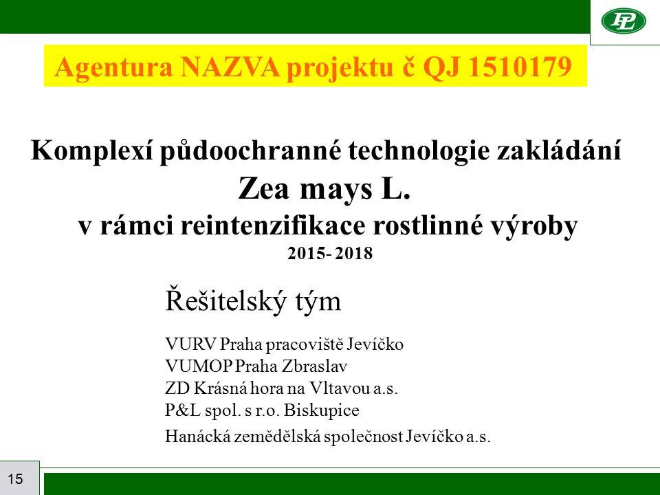 15 Agentura NAZVA projektu č QJ 1510179 Řešitelský tým VURV Praha pracoviště Jevíčko VUMOP Praha Zbraslav ZD Krásná hora na Vltavou a.s. P&L spol. s r