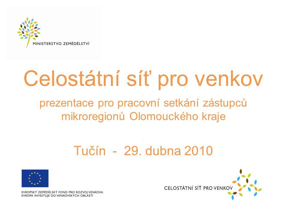 Celostátní síť pro venkov. prezentace pro pracovní setkání zástupců mikroregionů Olomouckého kraje.
