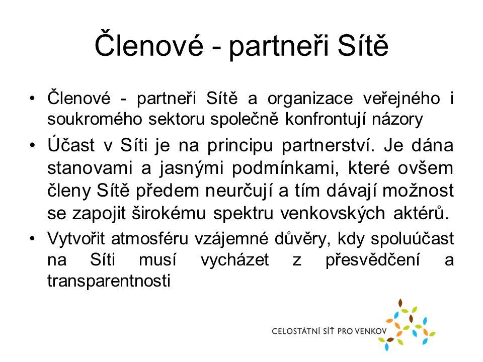 Členové - partneři Sítě Členové - partneři Sítě a organizace veřejného i soukromého sektoru společně konfrontují názory Účast v Síti je na principu partnerství.
