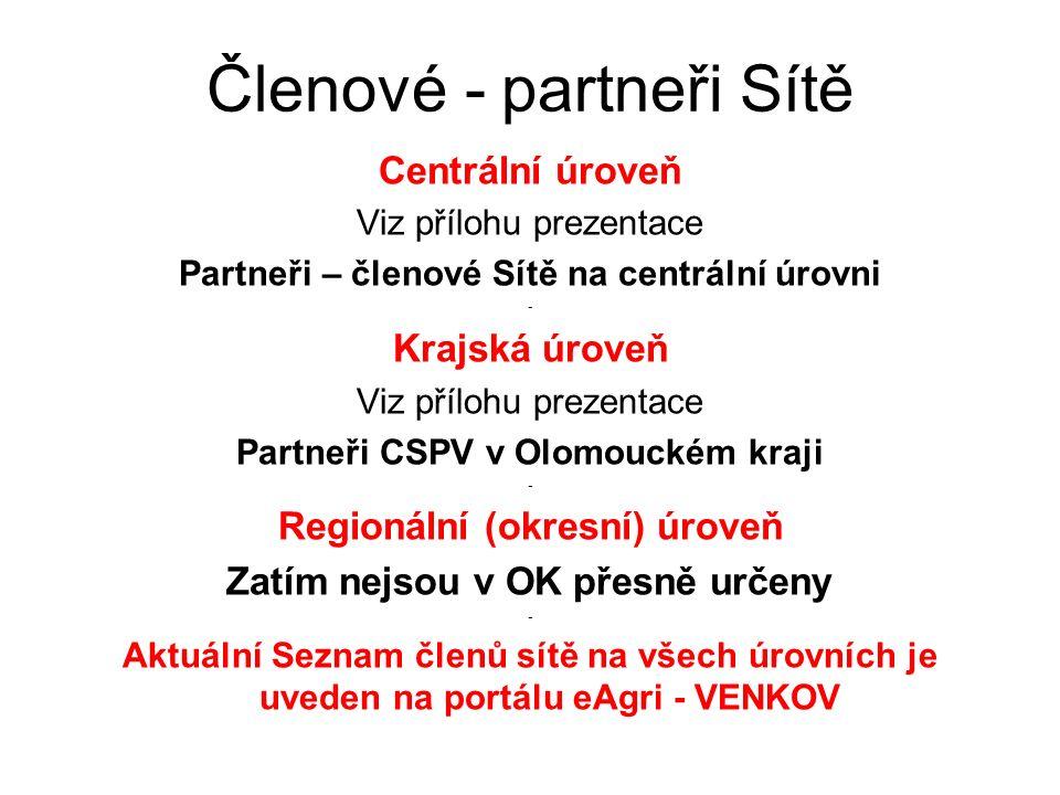 Členové - partneři Sítě Centrální úroveň Viz přílohu prezentace Partneři – členové Sítě na centrální úrovni - Krajská úroveň Viz přílohu prezentace Partneři CSPV v Olomouckém kraji - Regionální (okresní) úroveň Zatím nejsou v OK přesně určeny - Aktuální Seznam členů sítě na všech úrovních je uveden na portálu eAgri - VENKOV