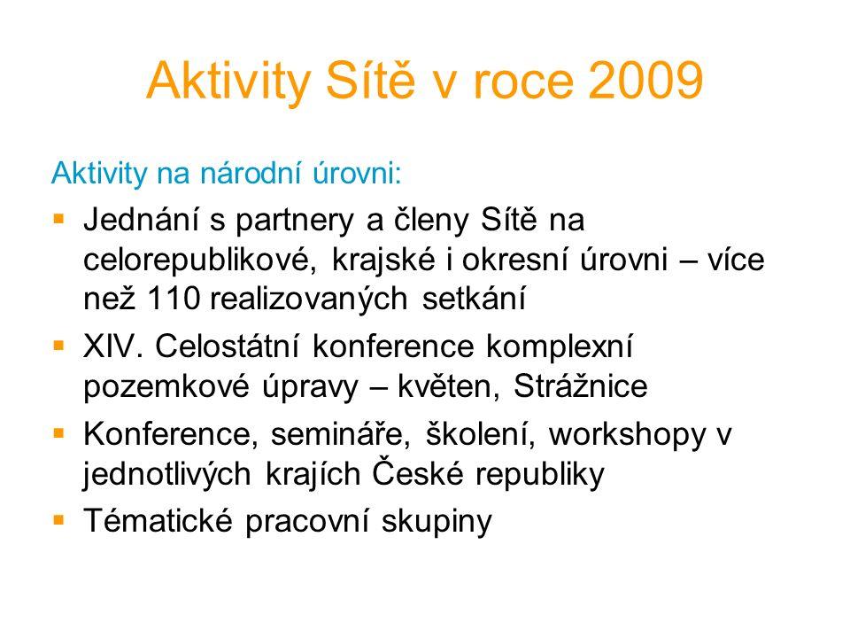 Aktivity Sítě v roce 2009 Aktivity na národní úrovni:  Jednání s partnery a členy Sítě na celorepublikové, krajské i okresní úrovni – více než 110 realizovaných setkání  XIV.
