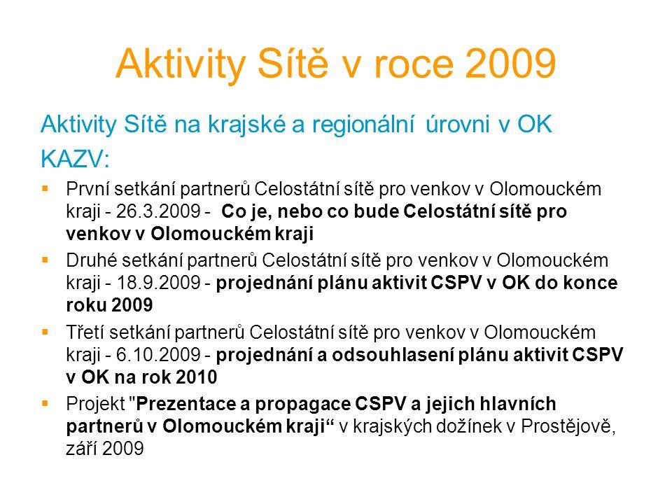 Aktivity Sítě v roce 2009 Aktivity Sítě na krajské a regionální úrovni v OK KAZV:  První setkání partnerů Celostátní sítě pro venkov v Olomouckém kraji - 26.3.2009 - Co je, nebo co bude Celostátní sítě pro venkov v Olomouckém kraji  Druhé setkání partnerů Celostátní sítě pro venkov v Olomouckém kraji - 18.9.2009 - projednání plánu aktivit CSPV v OK do konce roku 2009  Třetí setkání partnerů Celostátní sítě pro venkov v Olomouckém kraji - 6.10.2009 - projednání a odsouhlasení plánu aktivit CSPV v OK na rok 2010  Projekt Prezentace a propagace CSPV a jejich hlavních partnerů v Olomouckém kraji v krajských dožínek v Prostějově, září 2009