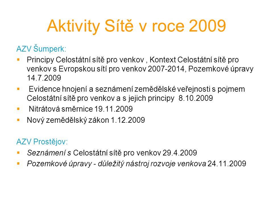 Aktivity Sítě v roce 2009 AZV Šumperk:  Principy Celostátní sítě pro venkov, Kontext Celostátní sítě pro venkov s Evropskou sítí pro venkov 2007-2014, Pozemkové úpravy 14.7.2009  Evidence hnojení a seznámení zemědělské veřejnosti s pojmem Celostátní sítě pro venkov a s jejich principy 8.10.2009  Nitrátová směrnice 19.11.2009  Nový zemědělský zákon 1.12.2009 AZV Prostějov:  Seznámení s Celostátní sítě pro venkov 29.4.2009  Pozemkové úpravy - důležitý nástroj rozvoje venkova 24.11.2009