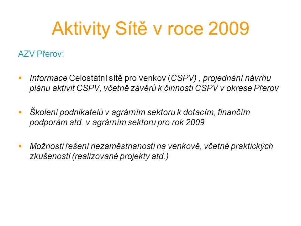 Aktivity Sítě v roce 2009 AZV Přerov:  Informace Celostátní sítě pro venkov (CSPV), projednání návrhu plánu aktivit CSPV, včetně závěrů k činnosti CSPV v okrese Přerov  Školení podnikatelů v agrárním sektoru k dotacím, finančím podporám atd.