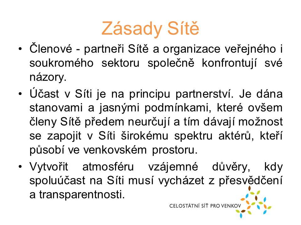 Zásady Sítě Členové - partneři Sítě a organizace veřejného i soukromého sektoru společně konfrontují své názory.