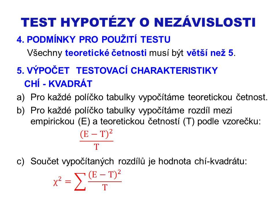TEST HYPOTÉZY O NEZÁVISLOSTI 4. PODMÍNKY PRO POUŽITÍ TESTU Všechny teoretické četnosti musí být větší než 5. 5. VÝPOČET TESTOVACÍ CHARAKTERISTIKY CHÍ