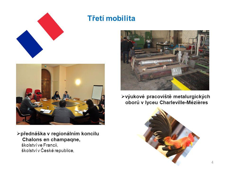 4 Třetí mobilita  přednáška v regionálním koncilu Chalons en champaqne, školství ve Francii, školství v České republice,  výukové pracoviště metalurgických oborů v lyceu Charleville-Mézières